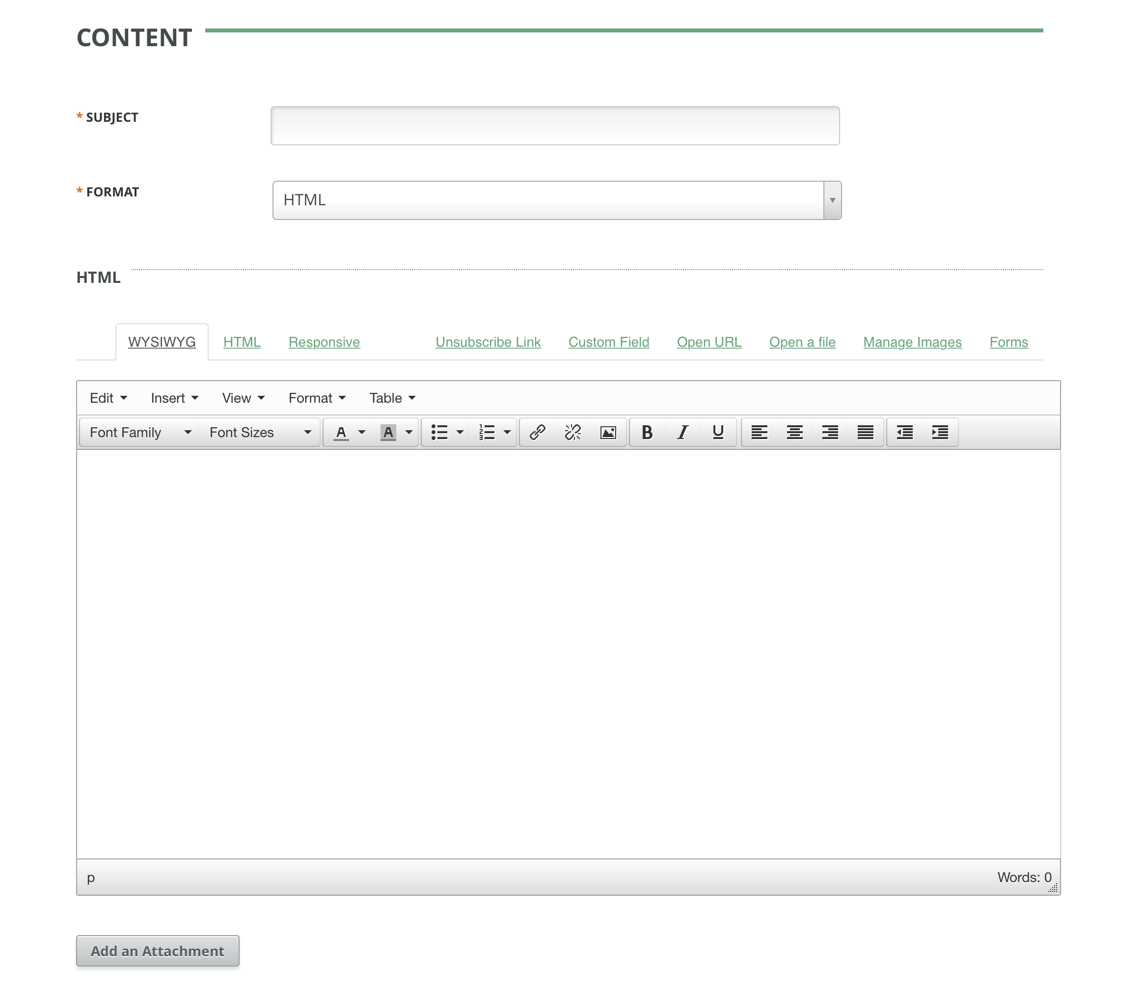Campaign Content Editor with Responsive Tab