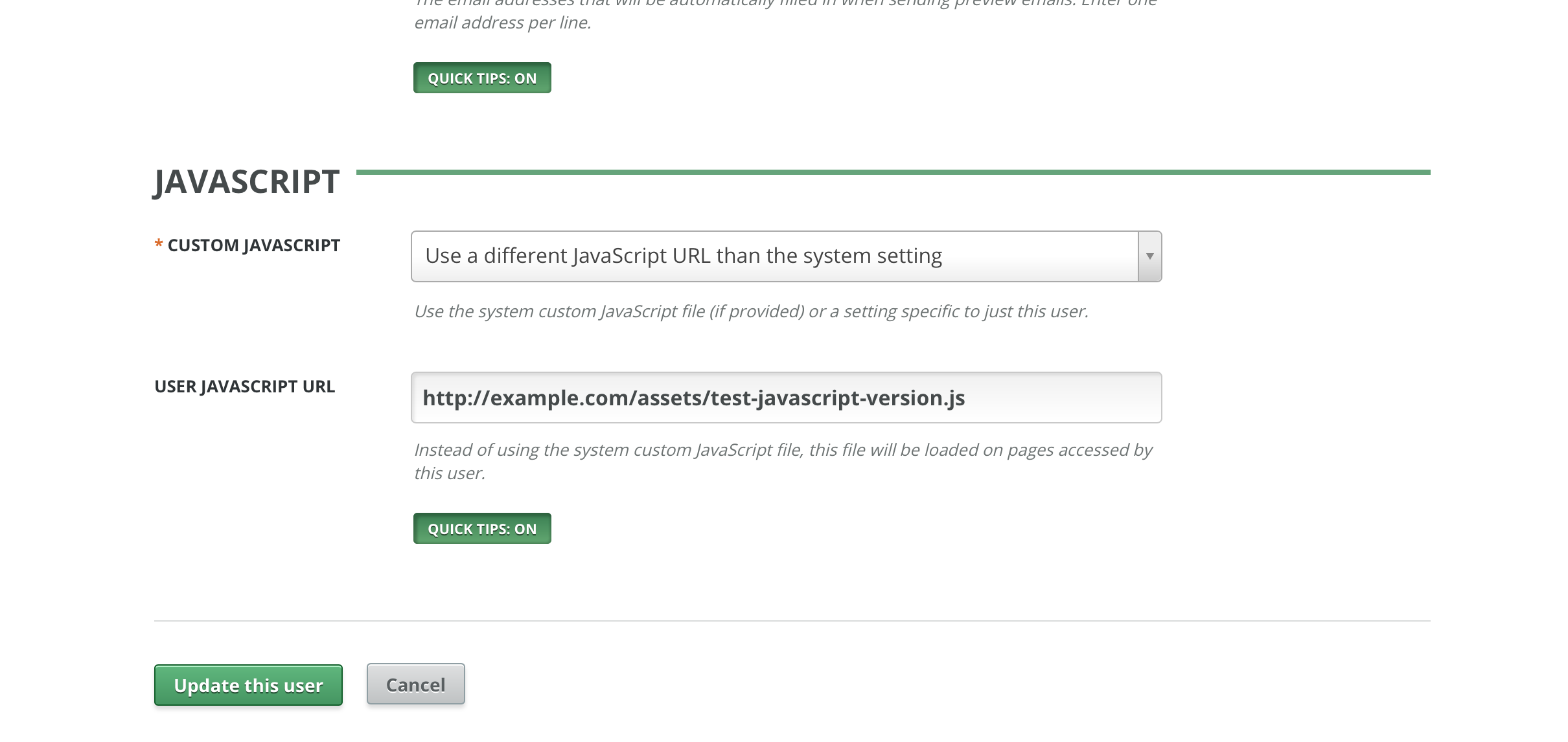 Setting a different custom JavaScript for a System Administrator