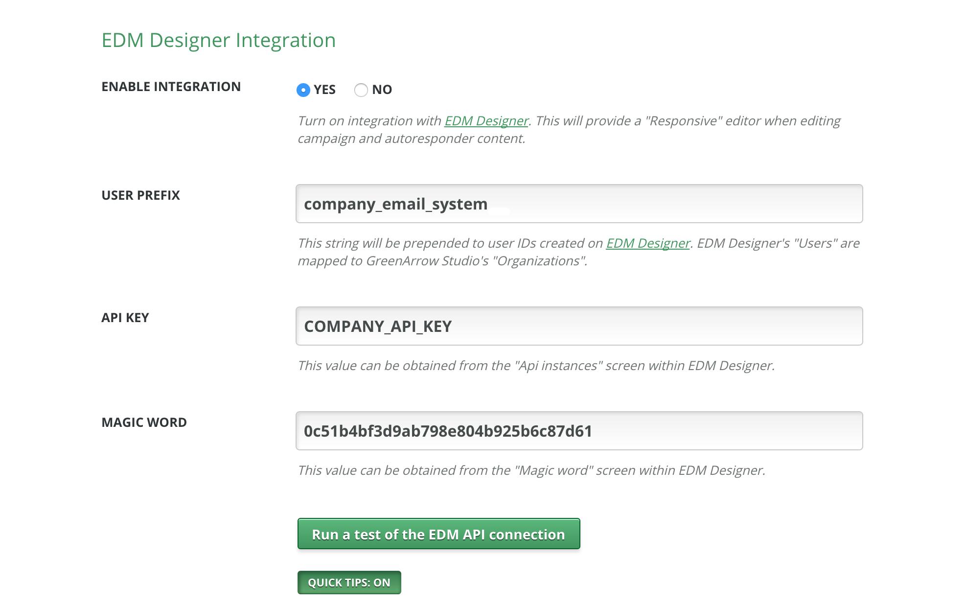 EDM Designer Integration settings in System Configuration