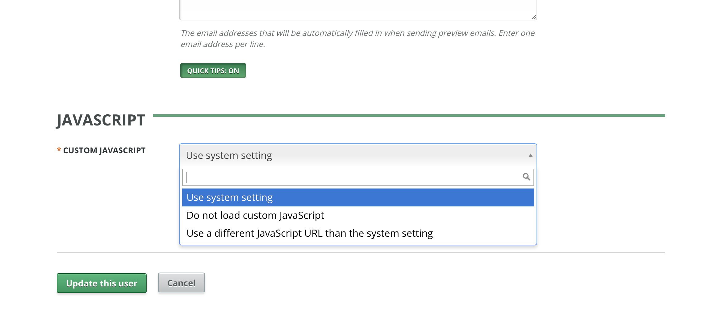 Disabling JavaScript for a System Administrator